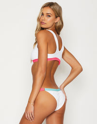 Endless Summer Bikini Bralette in White/Aqua/Popstar with Workable Zipper - Back View