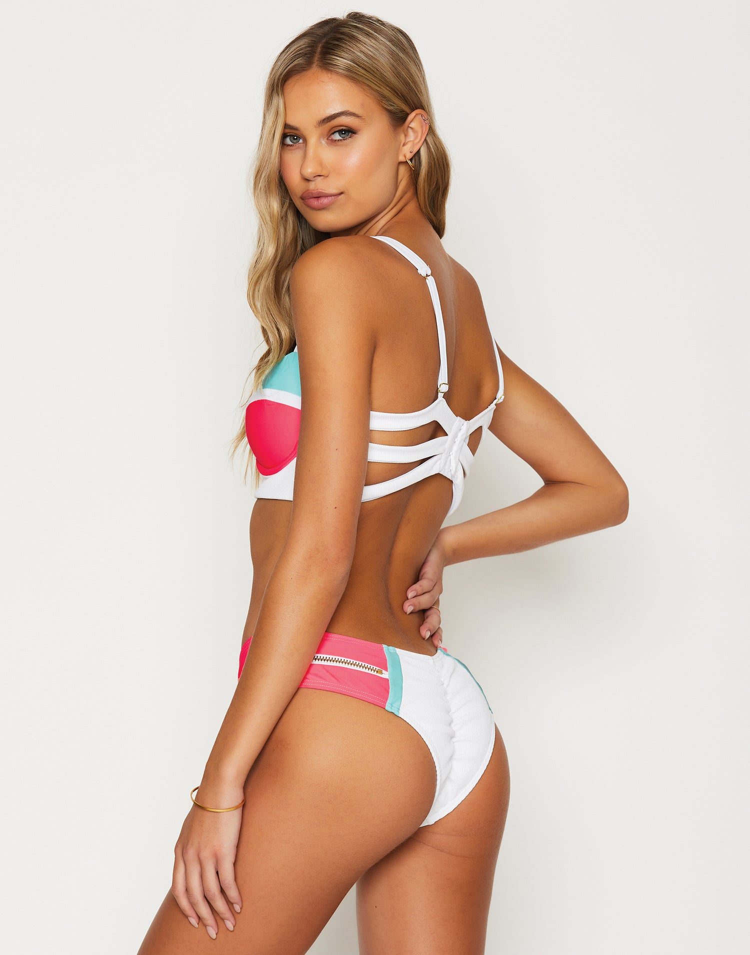 Endless Summer Push Up Bikini Top in White/Aqua/Popstar with Workable Zippers - Back View