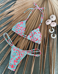 Indy Tango Bikini Bottom in Animal Dot Popstar/Aqua with Strappy Details - Product View