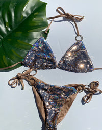 Siren Song Triangle Bikini Top in Gold/Hologram Sequins - Product Flat Lay View
