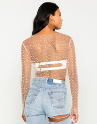 Jet Set Dreamin Rhinestone Cover Up Top in Nude - Back View