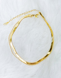 Ellison + Young's Herringbone Chain Anklet in Gold - Product View