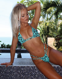 Indy Tango Bikini Bottom in Animal Dot Black/Aqua with Strappy Details - Alternate Front View