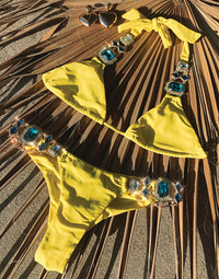 Jazmin Halter Bikini Top in Sunshine with Rhinestone Hardware - Product View
