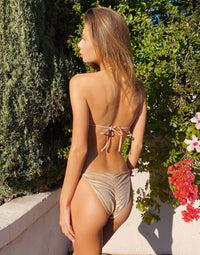 Jolie Tie Side Bikini Bottom in Rose Gold with Beads and Sequins - Alternate Back View