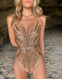 Jolie One Piece in Rose Gold with Beads and Sequins - Detail View