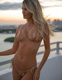 Jolie Tie Side Bikini Bottom in Rose Gold with Beads and Sequins - Alternate Front View