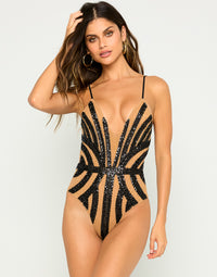 Jolie One Piece Swimsuit In Black with Bugle Beads, Sequins and Double Layered Mesh - Front View