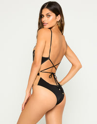 Jolie One Piece Swimsuit In Black with Bugle Beads, Sequins and Double Layered Mesh - Back View