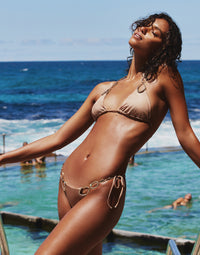 Paisley Triangle Bikini Top in Brown Sugar with Gold Hardware - Campaign View