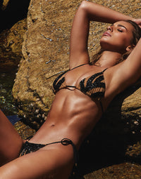 Jolie Triangle Bikini Top in Black with Beads - Angled View