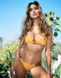 Lexi Bralette Bikini Top in Soleil with Acrylic Ring Hardware - Alternate Front View / Summer 2021 Campaign- Kara Del Toro