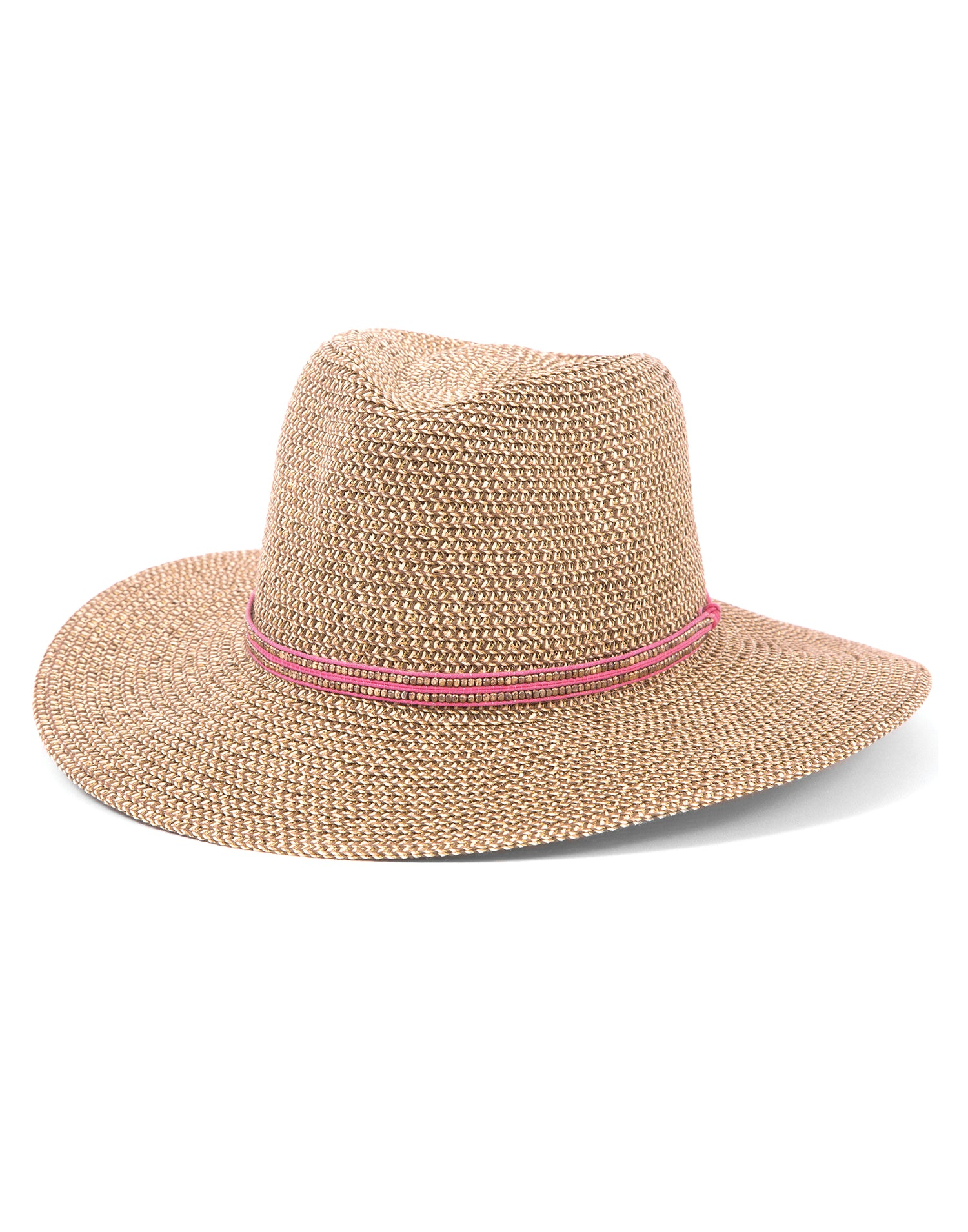Ale by Alessandra's Kenzie Fedora Beach Hat with Gold/Pink Beaded Trim - product view