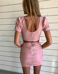 Summer Haus's Kimmy Top and Skirt Apparel Set in Pink with Shirring Details - Back View / Summer 2021 Campaign - Chloe Curci