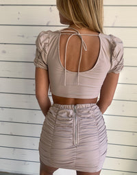 Summer Haus's Kimmy Top and Skirt Apparel Set in Stone with Shirring Details - Detail Back View / Summer 2021 Campaign - Chloe Curci