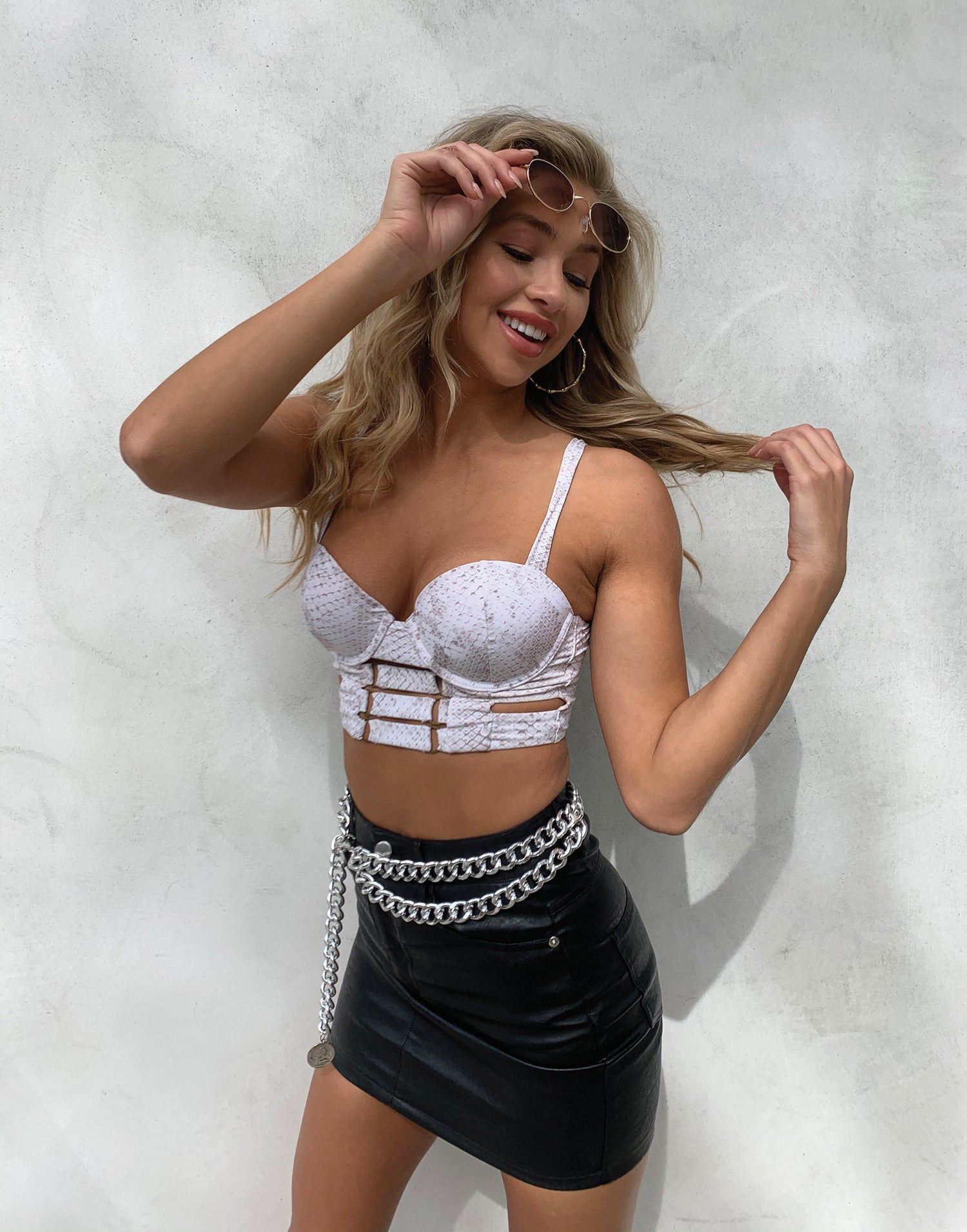 Kingston Bustier Top in Snake - Styled View