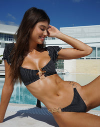Lexi Love Tango Bikini Bottom in Black/White Dot with Gold Heart Hardware - Alternate Front View
