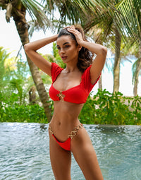 Lexi Love Bikini Top in Red with Puff Sleeves and Gold Heart Hardware - Alternate Front View