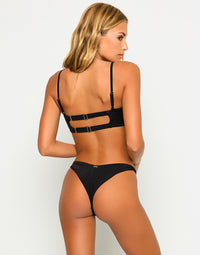 London Sexy Bralette Bikini Top with Straps in Black - Back View