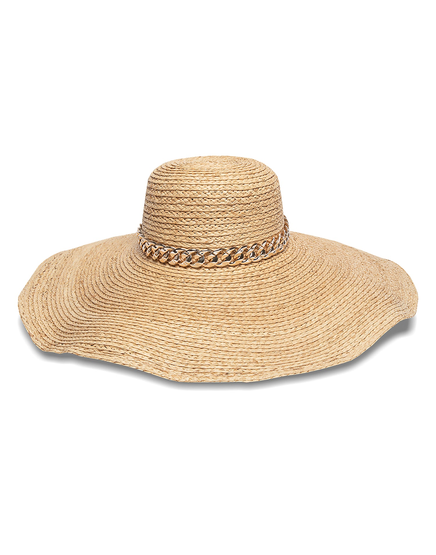 Nikki Beach's Lucia Raffia Hat with Gold Link Trim - product view