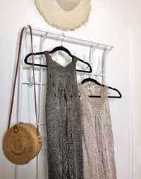 Mia Metallic Maxi Cover Up Dress in Charcoal - Product View