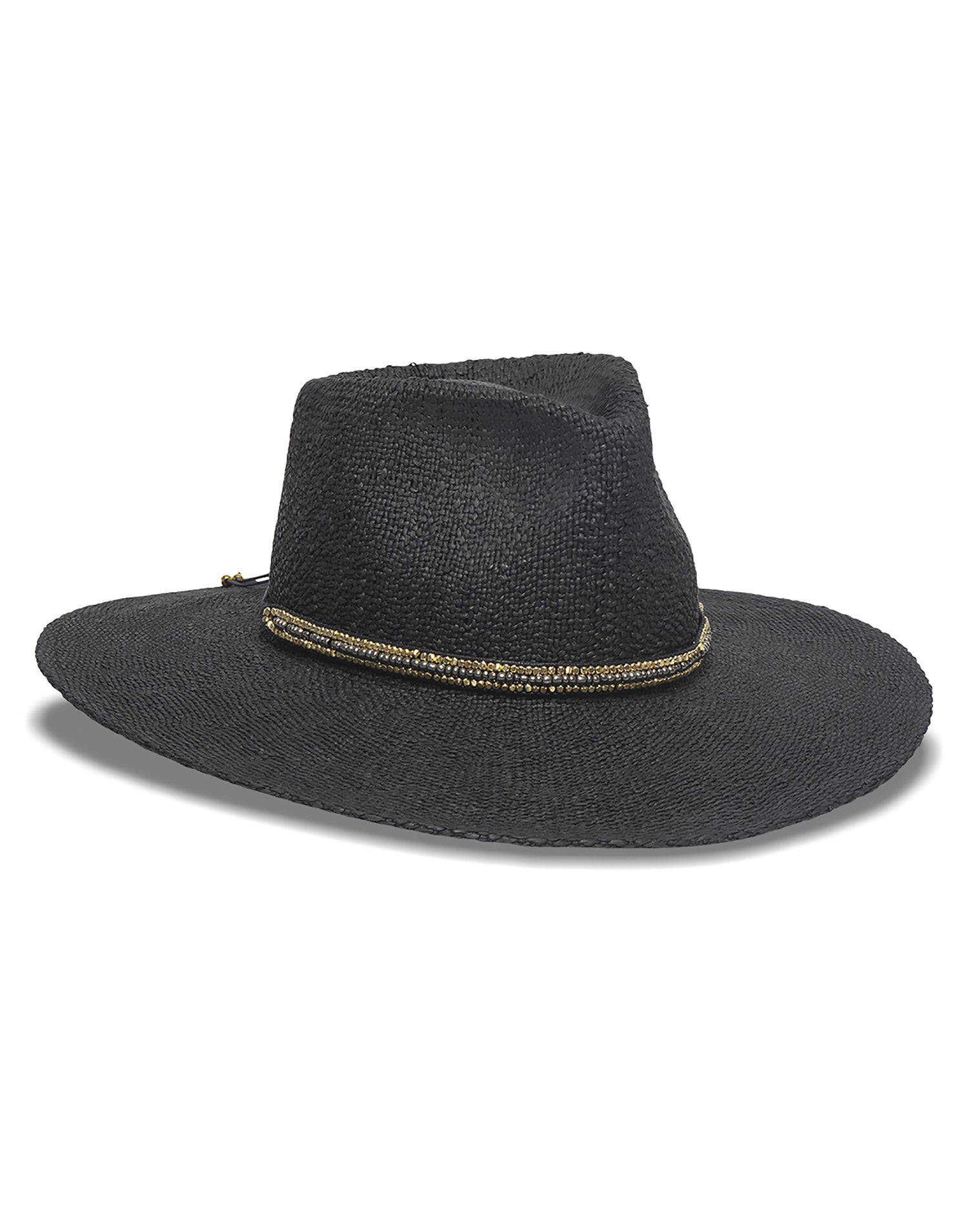 Nikki Beach's Monte Carlo Rancher Hat in Black with Metal Beaded Trim - product view