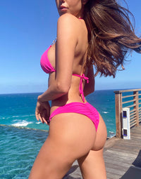 Nadia Skimpy Bikini Bottom in Neon Pink with Gold Hardware - Alternate Back View