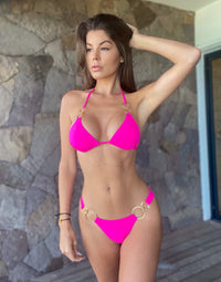 Nadia Skimpy Bikini Bottom in Neon Pink with Gold Hardware - Alternate Front View