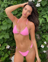 Nadia Skimpy Bikini Bottom in Pink with Gold Hardware - Alternate Front View