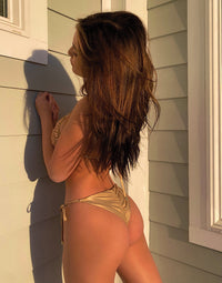 Nala Tie Side Skimpy Bikini Bottom in Rose Gold with Beads and Sequins - Alternate Back View
