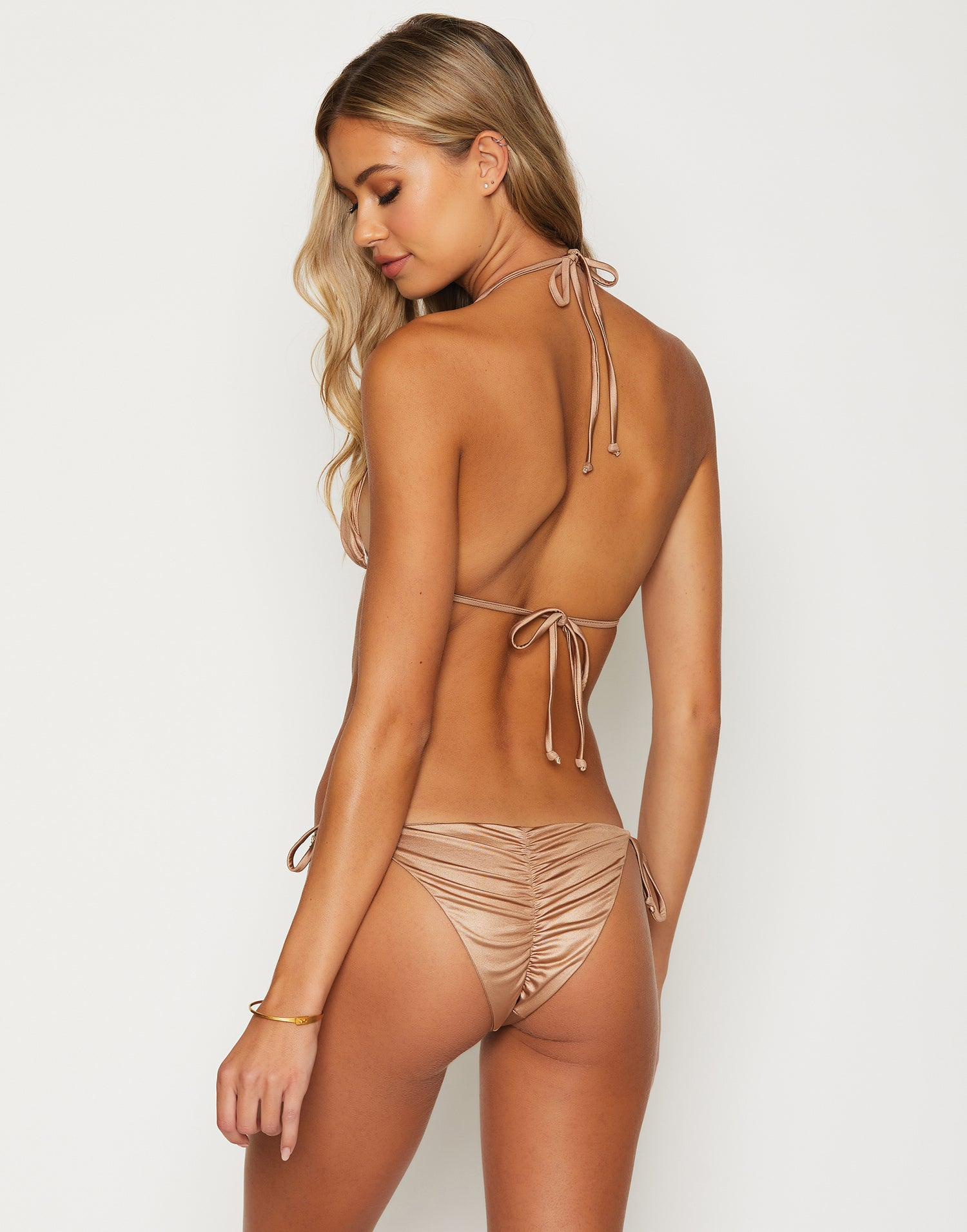 Paisley Triangle Bikini Top in Brown Sugar with Gold Hardware - Back View