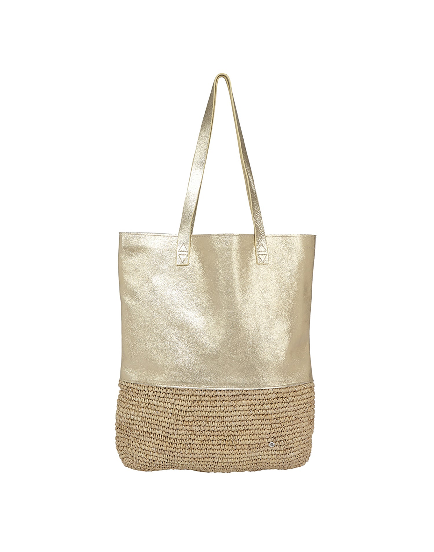 Florabella's Paradise Tote in Almond/Sliver - Product View