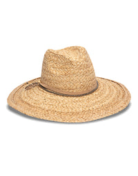 Nikki Beach's Perie Raffia Rancher Hat in Natural with Leather Chain & Feather Trim - product view