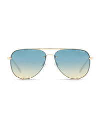 High Key Rimless Sunglasses Gold Blue Turq