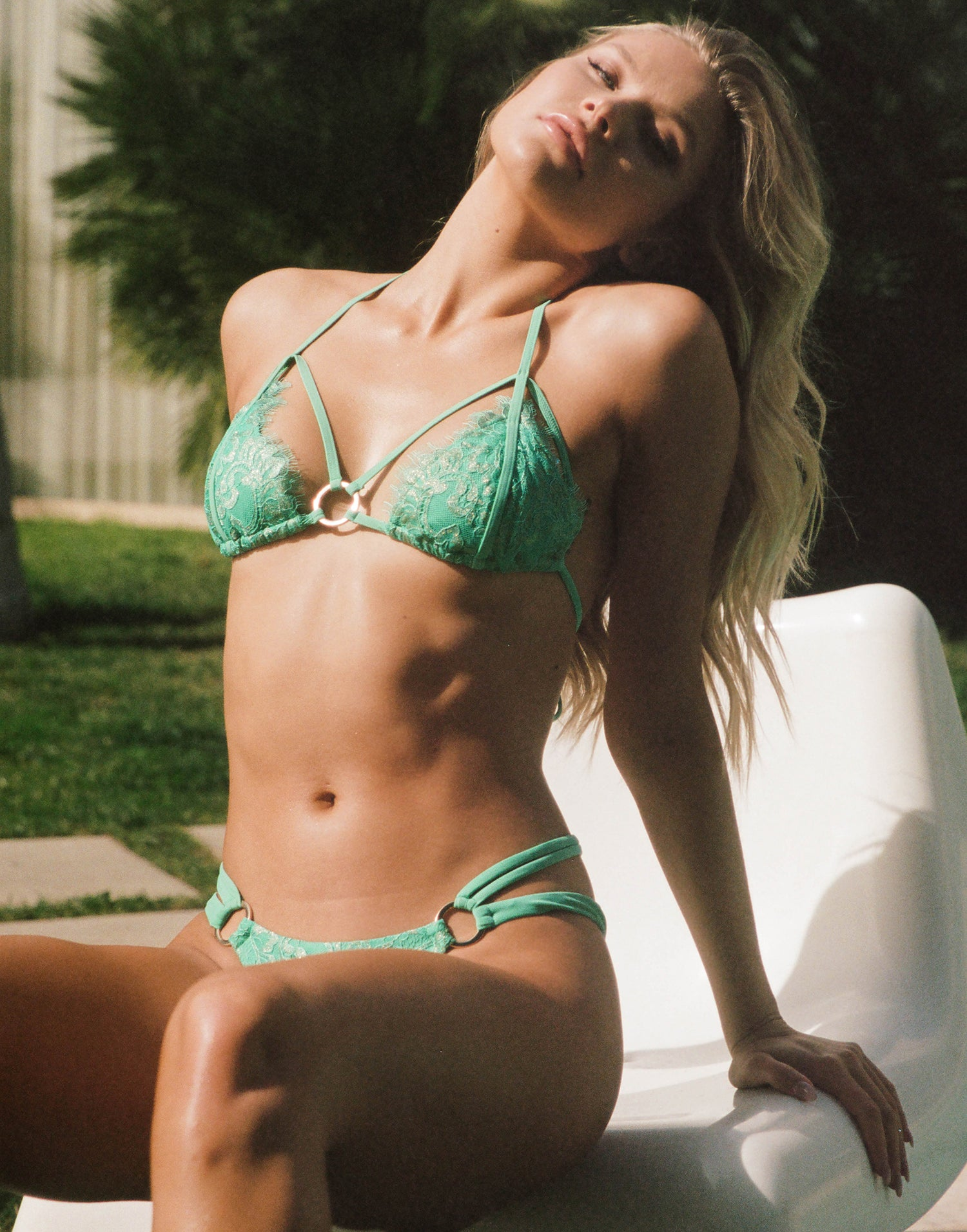 Gunpowder and Lace Triangle Bikini Top in Seafoam with Lace & Strappy Details - Alternate Front View / Summer 2021 Campaign - Josie Canseco