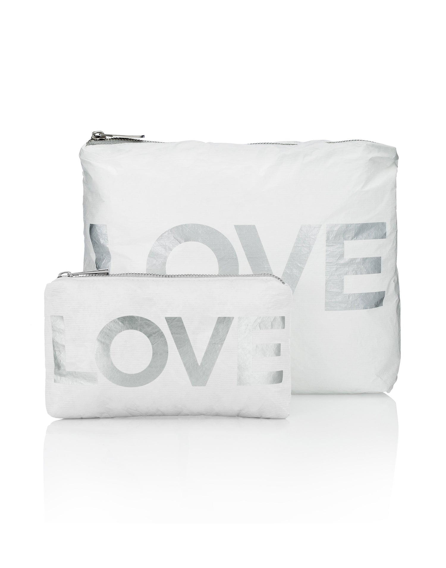Hi Love's Two-Piece Love Travel Case Set in White - Product View