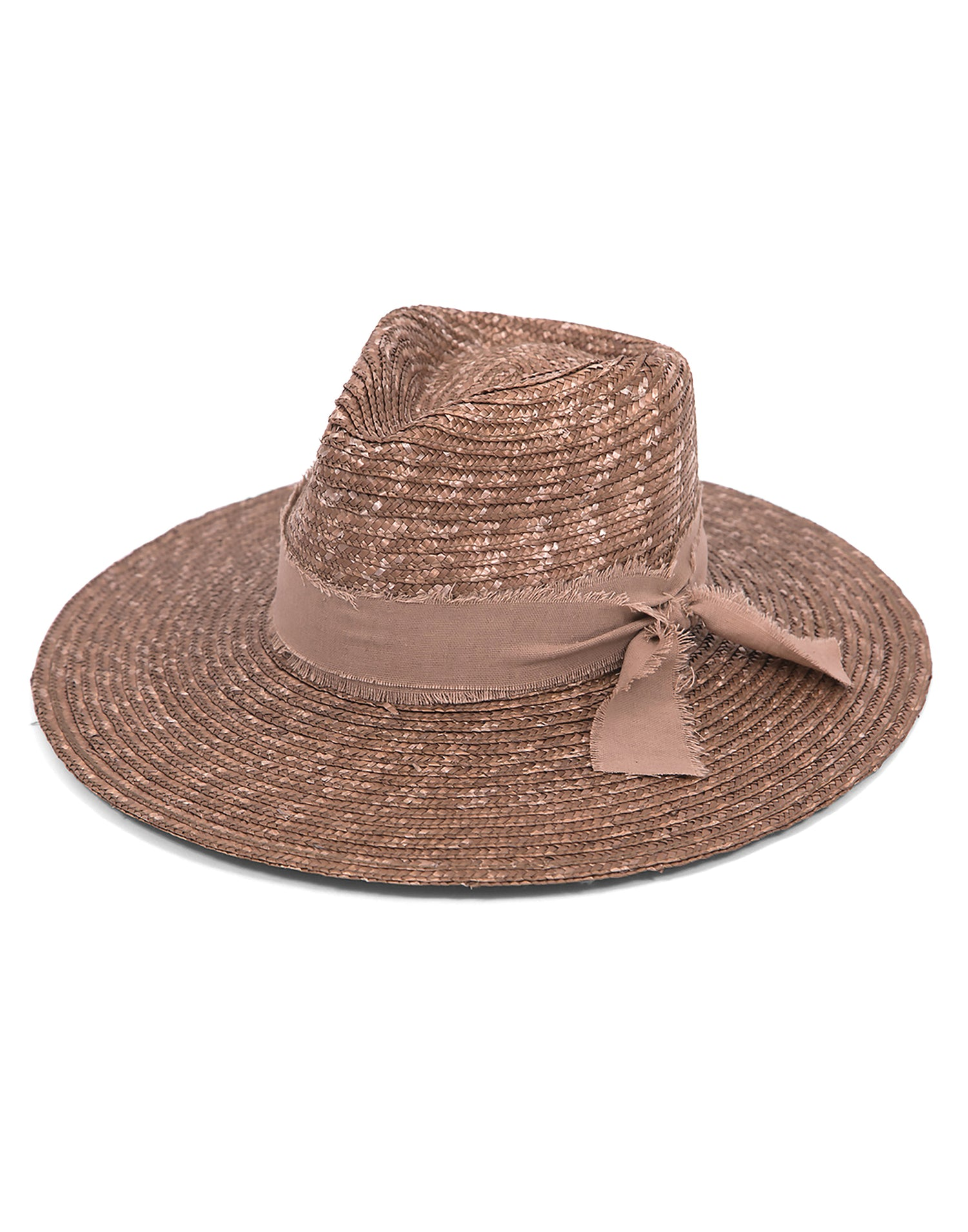 Ale by Alessandra's Solange Straw Hat with Decorative Linen Trim in Bronze - product view