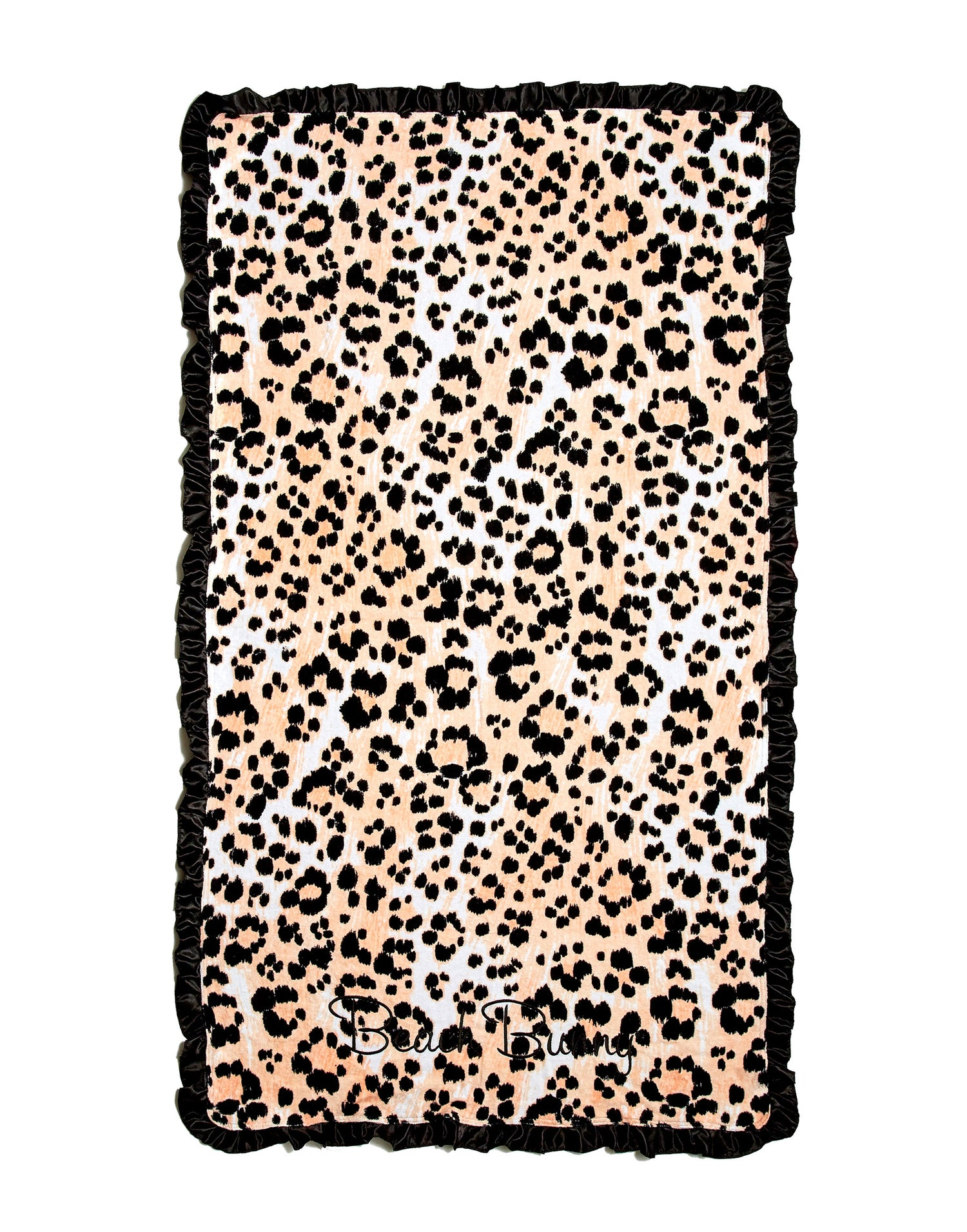 Animal Print towel with black ruffle