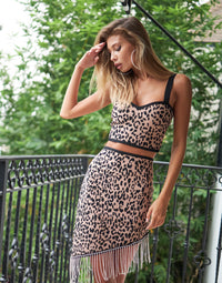 Temptations Apparel Bandage Crop Top & Midi Skirt Set in Leopard - Front View