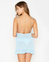 Blue Annika Elegant Summer Mini Dress - back view