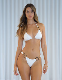 Nadia Skimpy Bikini Bottom in White with Acrylic Rings with Gold Link Hardware - Alternate Front View / Summer 2021 Miami Runway Show