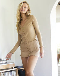 You Belong With Me Apparel Knit Dress in Sand - Front View