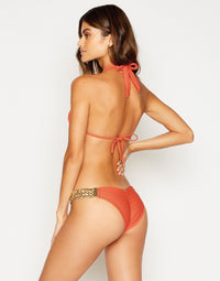 Alexa Skimpy Bikini Bottom in Poppy with Gold Hardware - Back View