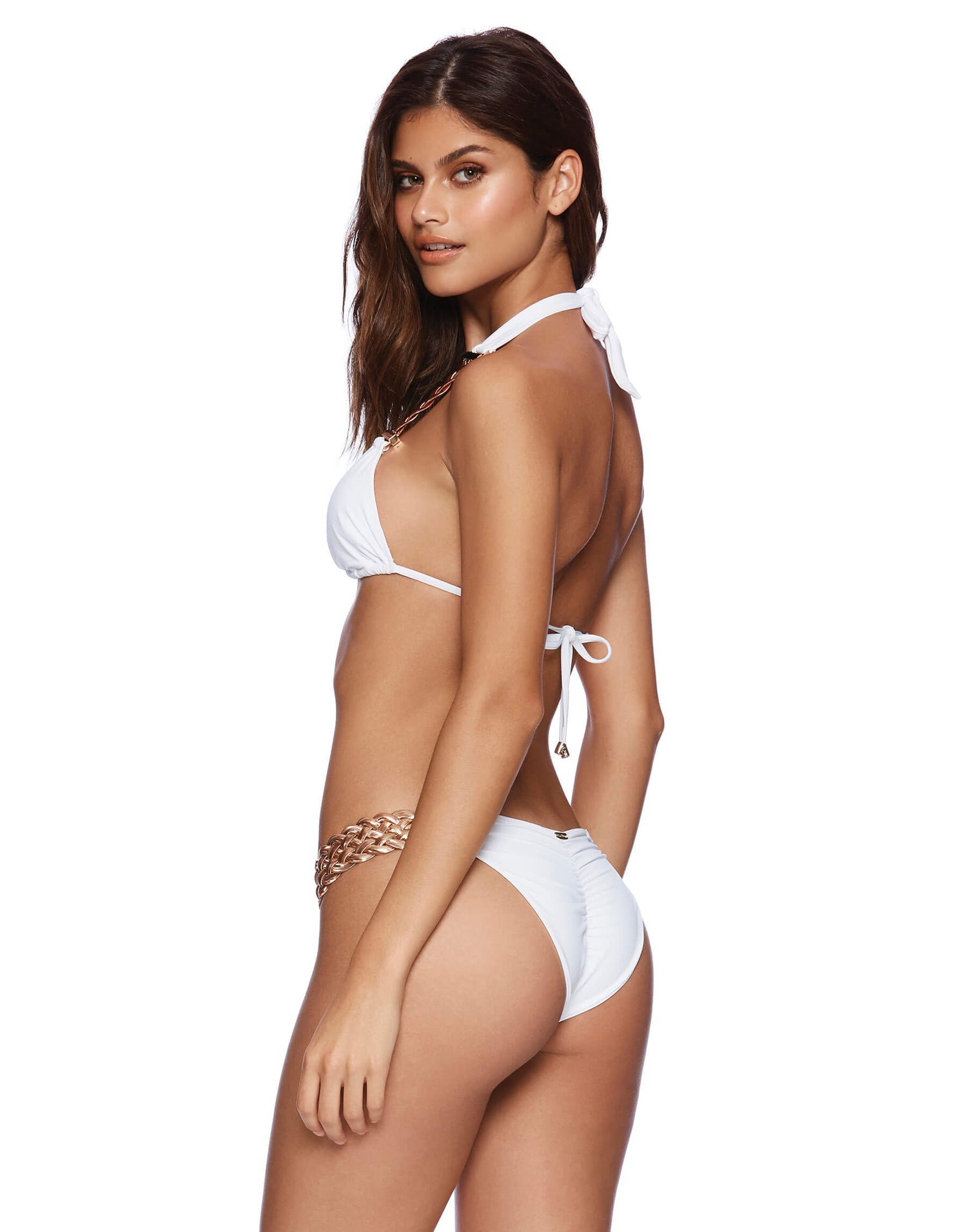 White Alexa Triangle Bikini Top - back view