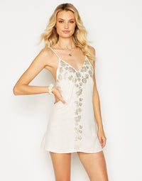 Anaya Mini Dress in Ivory with Hand Sewn Detail - front view