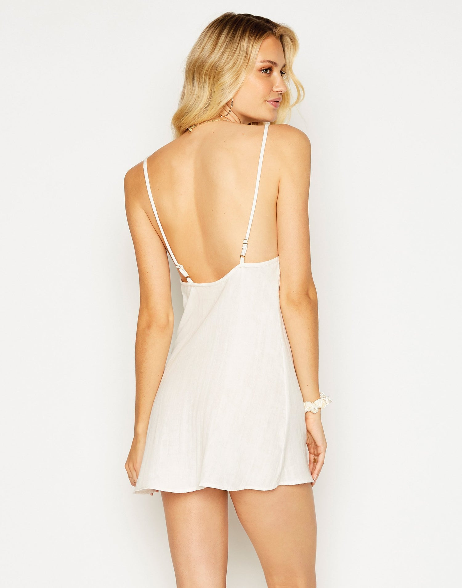 Anaya Mini Dress in Ivory with Hand Sewn Detail - back view
