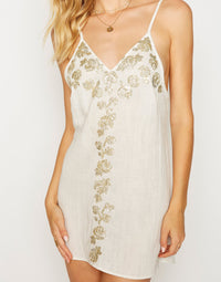 Anaya Mini Dress in Ivory with Hand Sewn Details - Detail View