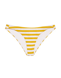 Angela Skimpy Bikini Bottom in Honey Yellow/White Stripe Rib - Product View