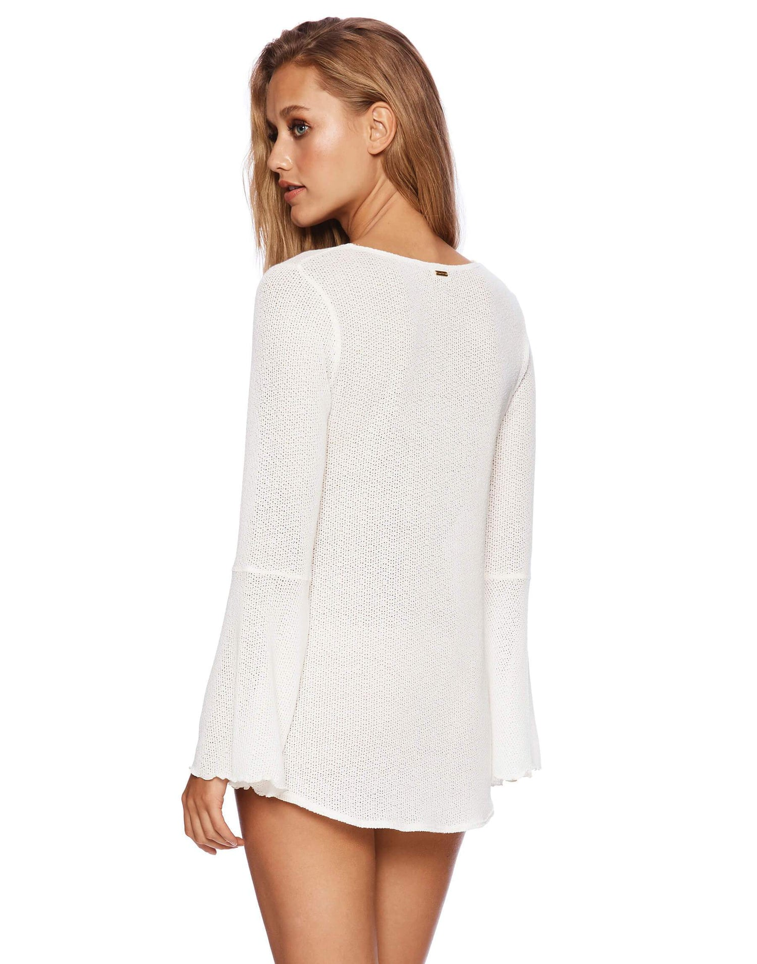 Annika Deep V-neck Top with Bell Sleeves - back view