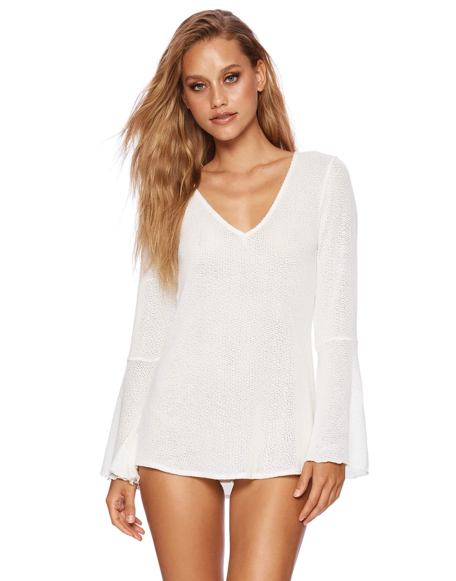 Annika Ivory Long Bell Sleeved Top - front view